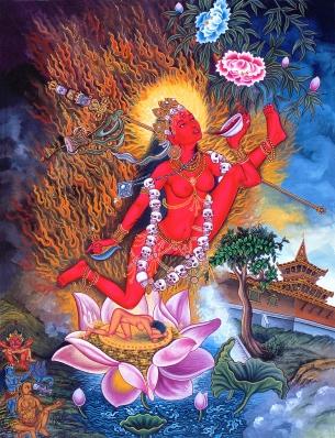 Vajrayogini je tantrična boginja. Prikazana je, kako iz čaše pije menstrualno kri.