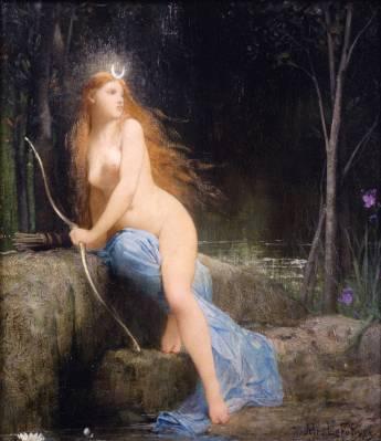 """Boginja Diana/Artemida. Boginja lova, Lune in deviške spolnosti.  Device (virgo, virgen, virgin) so se imenovale starodavne Lunine svečenice. Beseda devica je imela prizvok ženske, ki je neporočena, ki ne pripada moškemu, ženske, ki je ena v sebi. Beseda virgin izhaja iz latinskega korena, ki pomeni moč, silo in veščino in ki se je kasneje razvil tudi v besedo za moškost: virilnost.  Ištar, Diana, Astarte, Izis so bile device, kar se ni nanašalo na spolno čistost, temveč na spolno neodvisnost.  Vsi veliki kulturni heroji preteklosti naj bi se rodili iz deviških mater: Marduk, Gilgameš, Buddha, Oziris, Dioniz, Džinkis Khan, Jesus. Vsi so bili potrjeni sinovi Velike Matere, Izvorne. Njihova zemeljska moč je izhajala od Nje. Ko so Judje uporabljali to besedo in njeno aramejsko obliko, je pomenila """"dekle"""", """"mlado žensko"""", brez prizvoka spolne čistosti.  Kasneje pa krščanski prevajalci niso mogli dojeti Device Marije kot spolno neodvisne, zato so pomen device spreobrnili v spolno čisto, nedotaknjeno."""