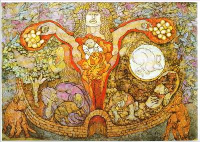 Ženska najgloblja intuicija prebiva v jajčnikih in maternici. slika: Meinrad Craighead