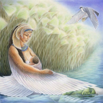 Izis doji sina Horusa - Boga Sonca.