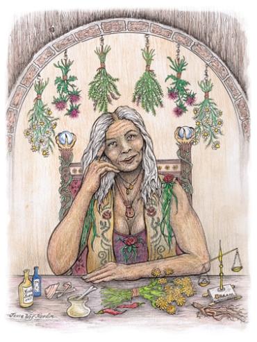 Zdravilka - včasih tradicionalni ženski poklic. Zdravilka - modra ženska - babica je bila avtoriteta v skupnosti in je skrbela tako za zdravstvene kot duhovne tegobe svoje skupnosti. slika: Jesse Wolf Hardin