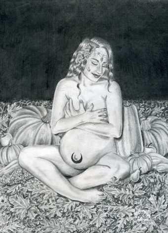 boginja Modron noseča s sinom Mabon om