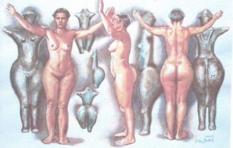 """Ženska, ki je identificirana z žensko zavestjo, matristično zavestjo. Ko se istovetimo s patriarhalnimi ideali, nad svojim telesom izvajamo grobe rituale lepote, kot so stradanje, stiskanje v neudobna, grda in nekoristna oblačila, sovraštvo do lastnega telesa, pretirano """"olepšavanje"""" svojega telesa z ličenjem in v skrajnem primeru z operacijami in miselnost, da sem vredna le, če sem privlačna moškemu."""