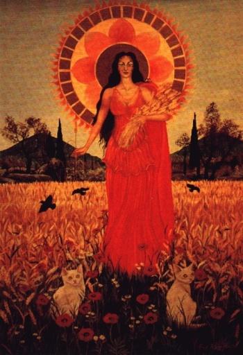 Boginja Demetra je Boginja Mati. Njena podoba uteleša ključe materinstva: klasje v njenih rokah, njeno bujno oprsje, rdečina njenega oblačila, toplina, ki jo obdaja.