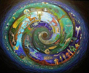 Spirala je simbol poti Modre Ženske. Spirala simbolizira pomen, unikatnost vsakega trenutka - čeprav se vrti kot cikel, se nikoli ne vrne na isto mesto. Simbol znanstvene poti je ravna linija in simbol herojske poti je krog, ki se vrti in vrti, začaran in omejujoč, dokler ne izstopimo iz njega.