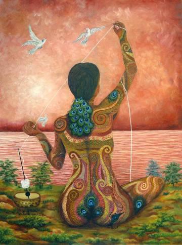 V vseh starodavnih mitih je Boginja tkalka, ki je stkala vesolje in še vedno tke niti življenja. Skozi njeno tkanino smo vsi povezani, vsi eno. Ona je stvariteljica vesolja. Je izvor vsega znanja in modrosti. slika: Paula Nicho Cumez
