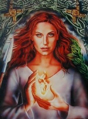 Boginja Brigid drži v rokah duhovni plamen, ki je plamen naše duše, naše svetlobno sebstvo, ki prenaša modrosti iz življenja v življenje in je vse višje na božanski spirali.