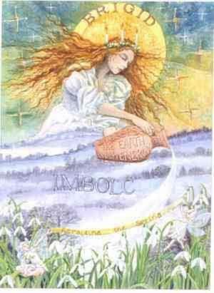 Boginja Brigid na Imbolc obsuva Zemljo s Svetlobo, z Ognjem Življenja.