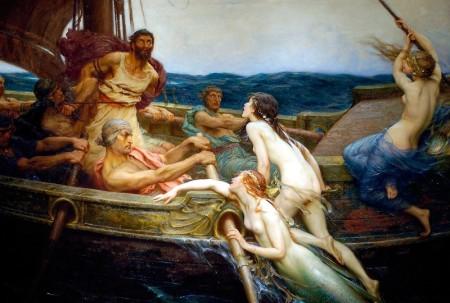 Sirene, ki zapeljujejo mornarje sredi morja, jih omrežijo in hipnotizirajo, da le-ti izgubijo razum in jih naposled ugonobijo, so podoba zlorabljajoče preplavljajoče maternice, ženskosti, ki kastrira. Avtor: Herbert Draper Painting - Ulysses in sirene
