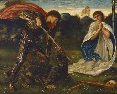 Sveti Jurij ubije zmaja. Zmaj je metafora iracionalne maternice, ženskosti, notranjega oceana, nezavednega. Nezreli ego se boji tega dela duše in se zato odloči, da ga bo pokončal. V patriarhalni družbi se to dojema kot junaštvo. Patriarhalni miti so polni junakov, ki ugonobijo mitološka bitja. Avtor: Edward Burne-Jones (Anglija, 1833 - 1898) Title : Date : 1866 Medium Description: oil on canvas Dimensions : Credit Line : Gift of Arthur Moon KC in memory of his mother, Emma, born in Sydney in 1860, the daughter of John de Villers Lamb 1950 Image Credit Line : Accession Number : 8536
