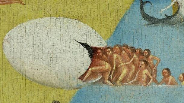 Kozmično jajce je simbol prvobitne, nezavedne, nediferencirane, embrionalne enosti, h kateri novodobništvo stremi v svoji infantilnosti in svojemu odporu do uma, razuma in ega, s tem pa poskuša zaobrniti naravni razvoj človekove osebnosti, kar lahko povzroči tudi resnejše duševne težave. Slika: The garden of earthly delights, avtorja Hieronymusa Boscha To sliko je uporabil kot ključni motiv tudi Leonardo DiCaprio v svojem dokumentarnem filmu o podnebnih spremembah in katastrofah, ki sledijo v prihajajočih desetletjih Before the Flood (Pred poplavo)